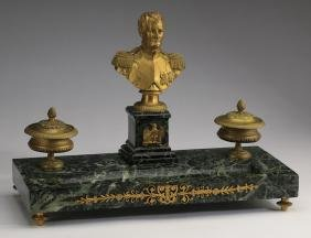 "19th C. Gilt Bronze And Marble Napoleon Encrier, 16""l"