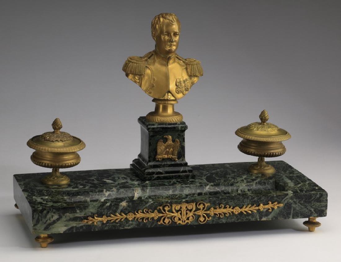 "19th c. gilt bronze and marble Napoleon encrier, 16""l"