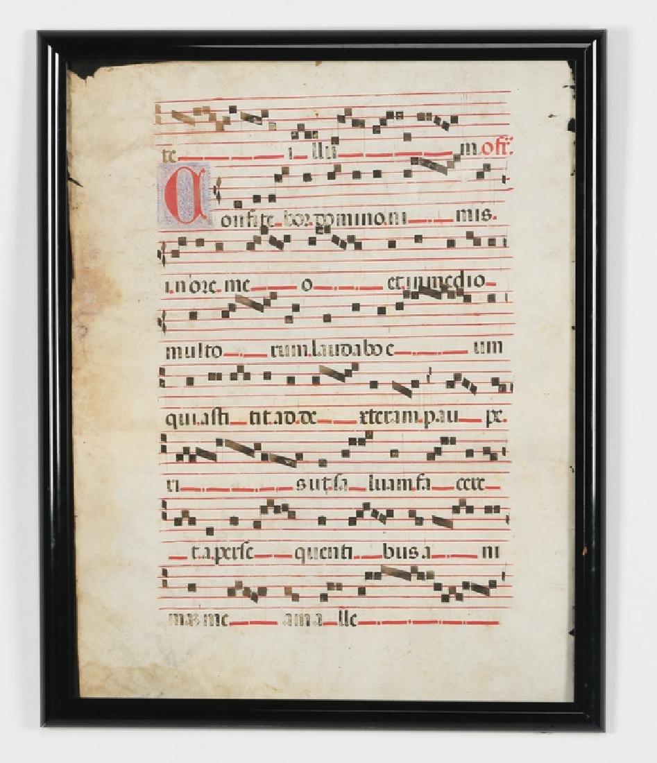(2) Gregorian Antiphonal manuscripts on vellum