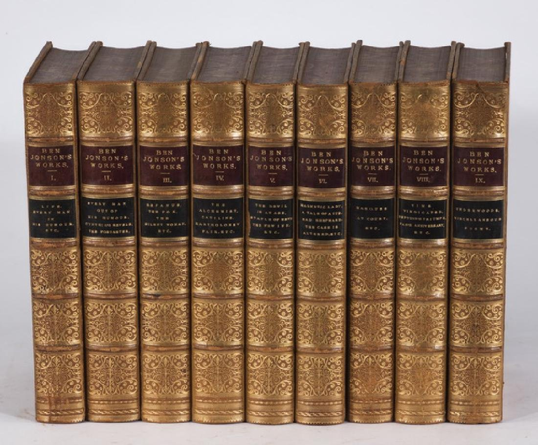 (9) 19th c. leatherbound books by Ben Jonson