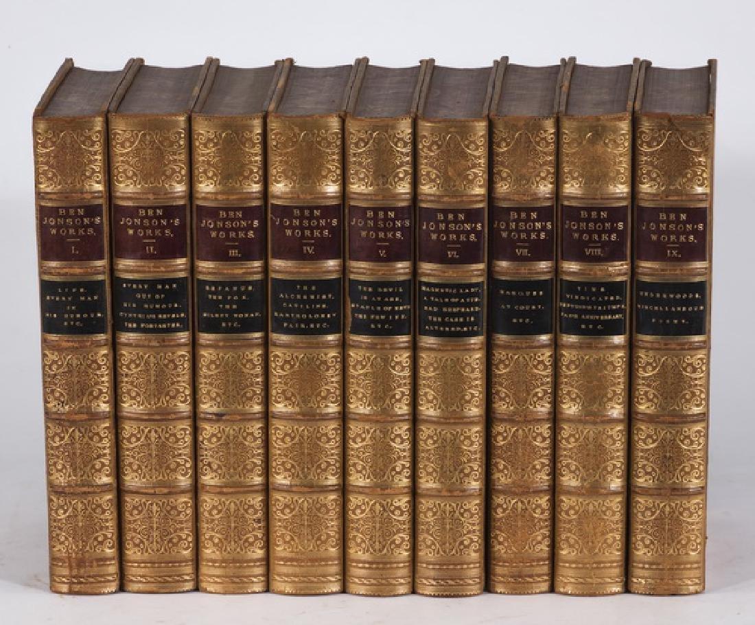(9) 19th c. leatherbound books by Ben Jonson