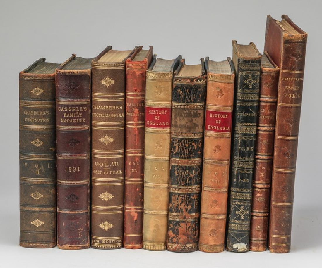 (10) 19th c. leatherbound books