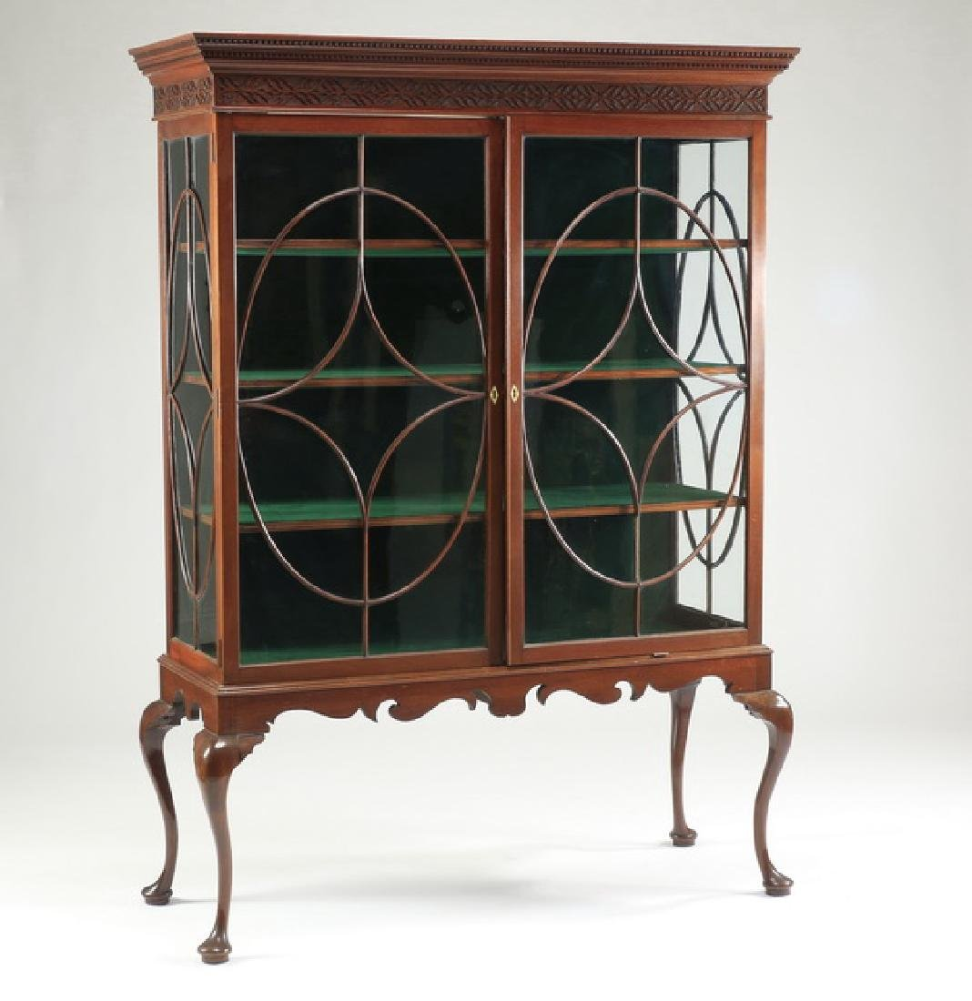 "19th c. George III style velvet lined bookcase, 77""h"
