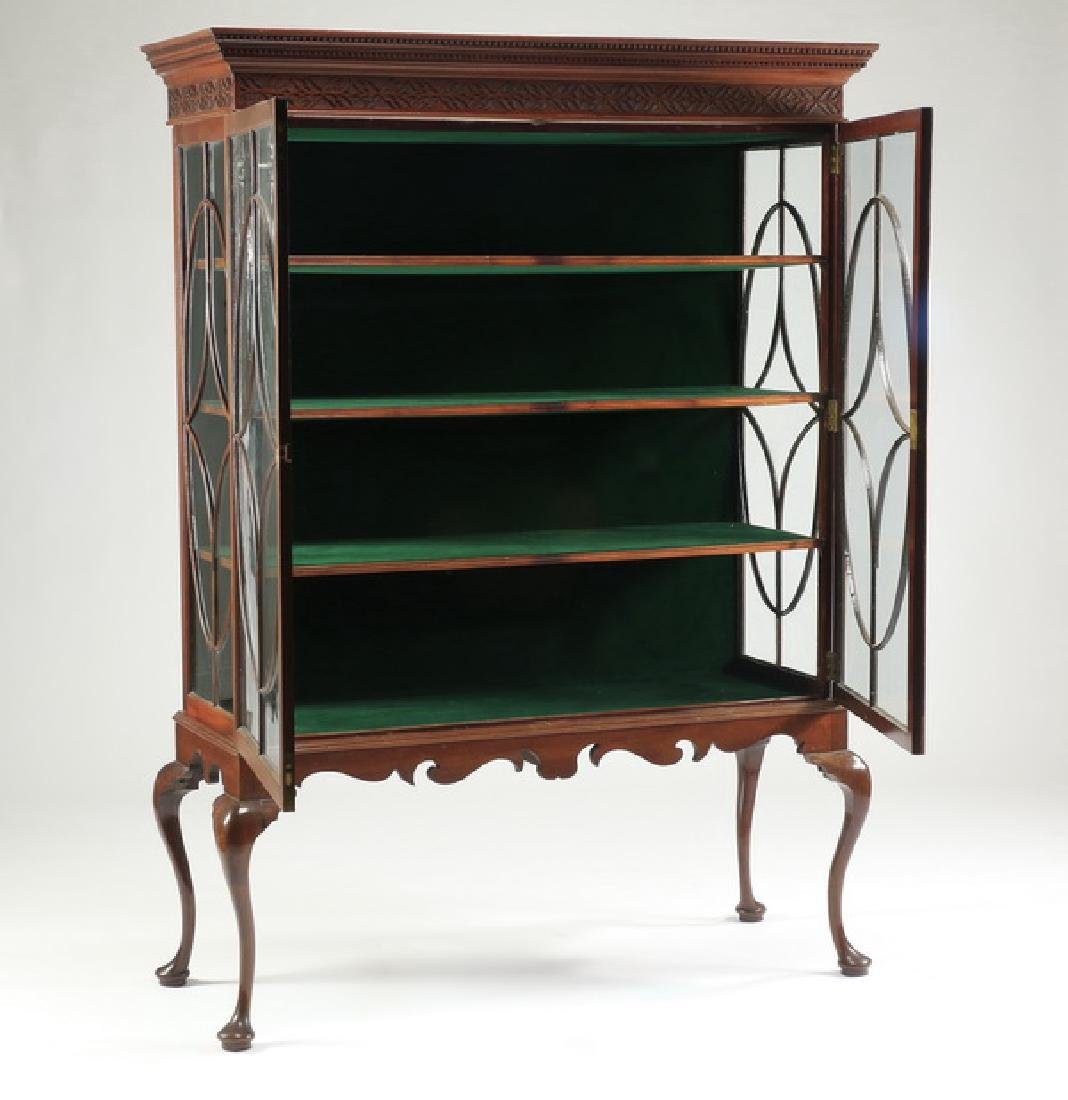 "19th c. George III style velvet lined bookcase, 77""h - 2"