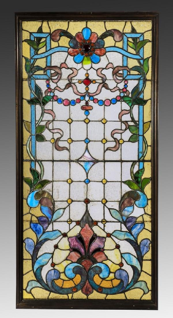 """American leaded stained glass window, 68""""h"""