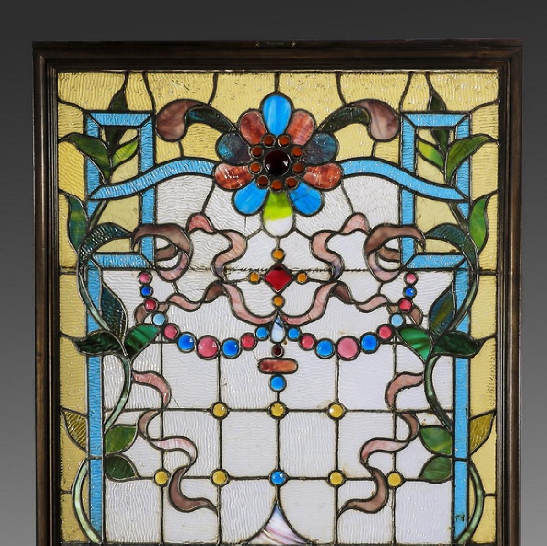 "American leaded stained glass window, 68""h - 2"