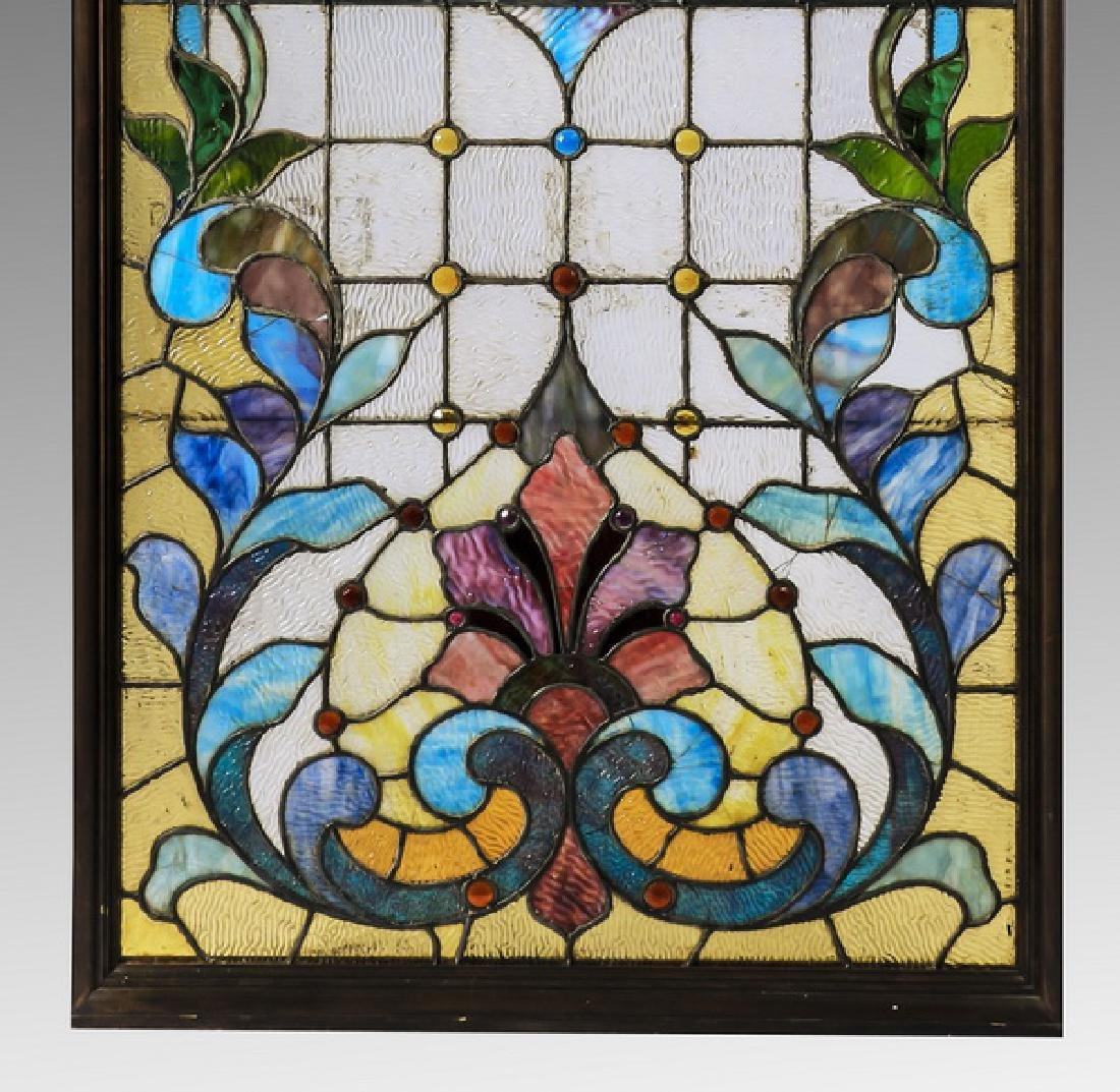 "American leaded stained glass window, 68""h - 3"