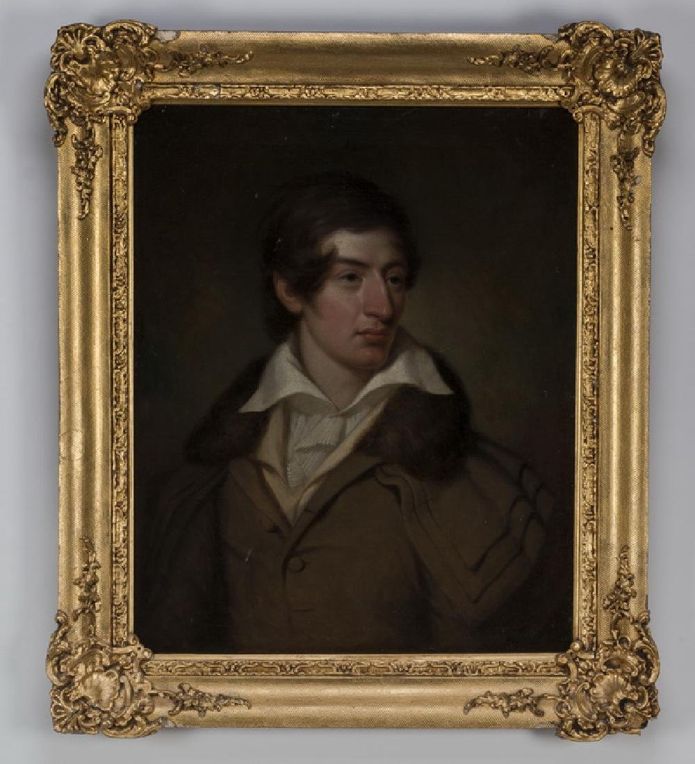 19th c. English O/c of gentleman in coat w/fur collar