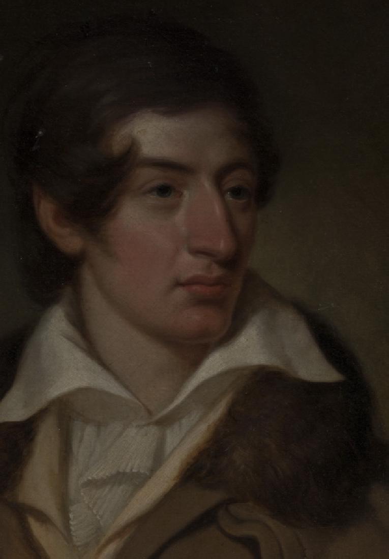 19th c. English O/c of gentleman in coat w/fur collar - 2