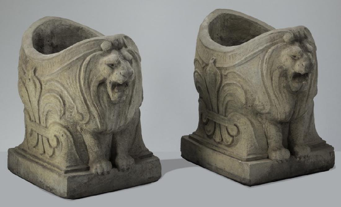 """(2) French style figural lion jardinieres, 23""""h"""