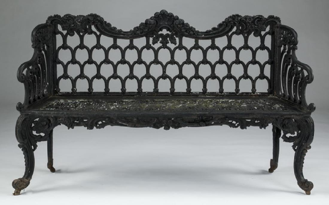 """Rococo style painted cast iron garden bench, 61""""w"""