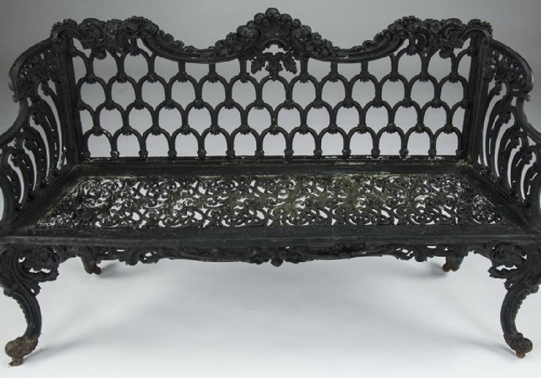 """Rococo style painted cast iron garden bench, 61""""w - 2"""