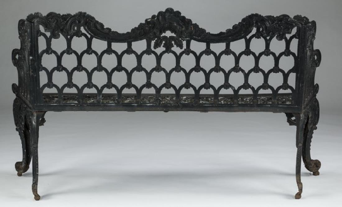 """Rococo style painted cast iron garden bench, 61""""w - 3"""