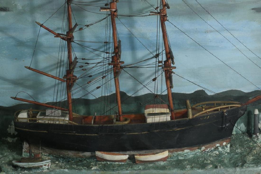 """Nautical diorama in a tramp art frame, 28""""h - 2"""