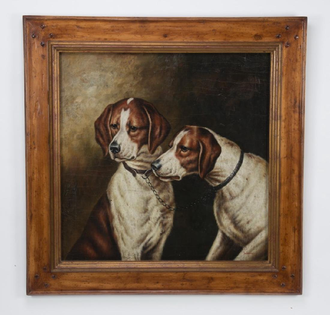 Trevor James O/c of two hunting dogs, signed