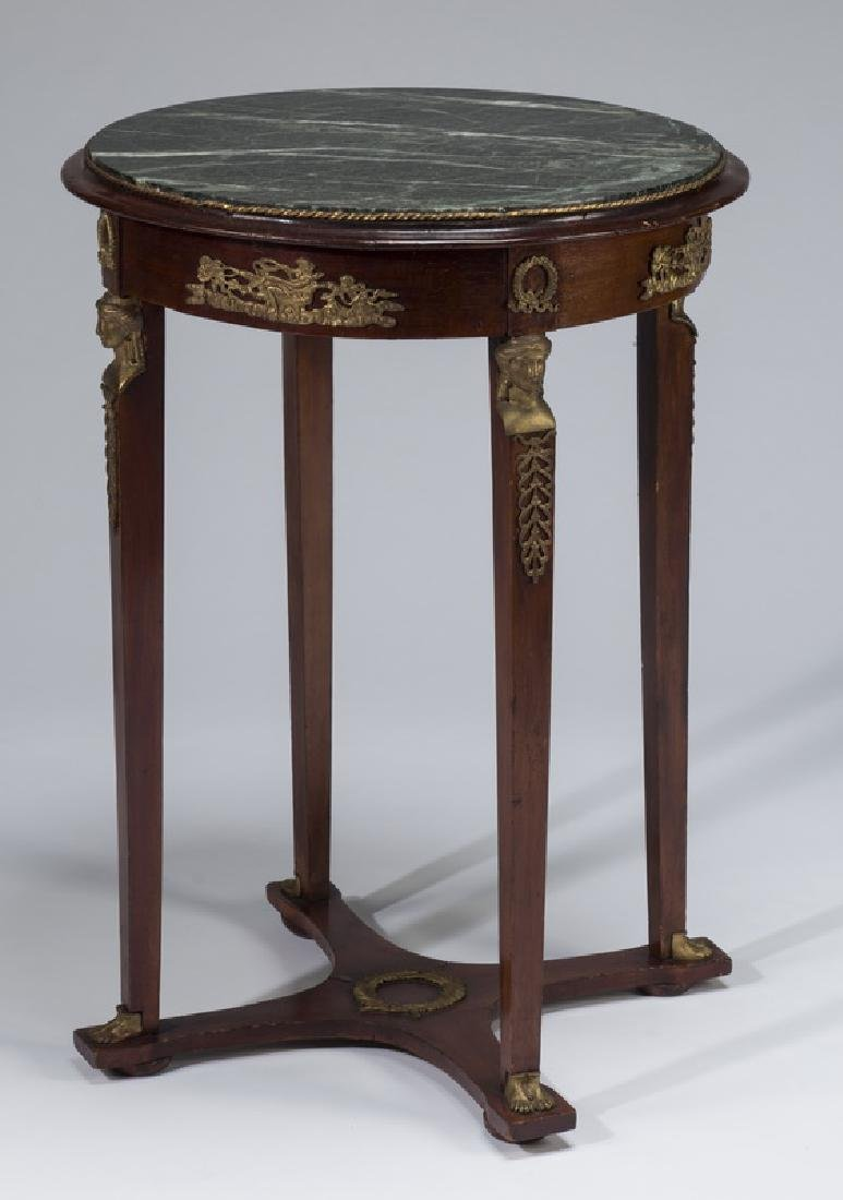 "Early 20th c. Empire style marble top table, 21""dia"
