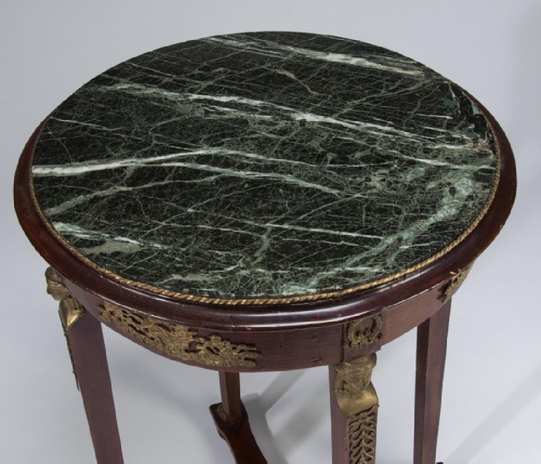 """Early 20th c. Empire style marble top table, 21""""dia - 2"""