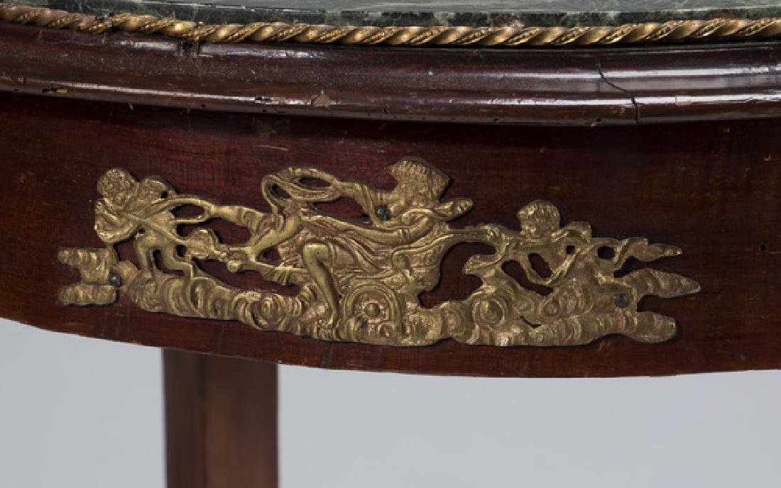 """Early 20th c. Empire style marble top table, 21""""dia - 3"""