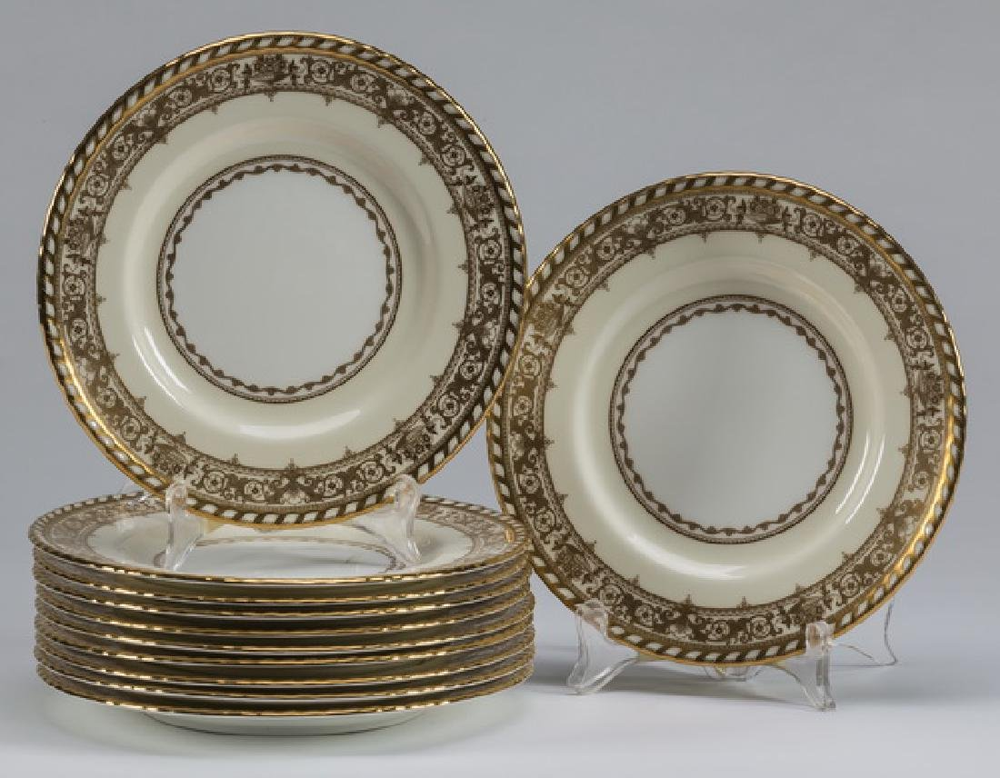 (11) Minton, Tiffany & Co. porcelain dinner plates