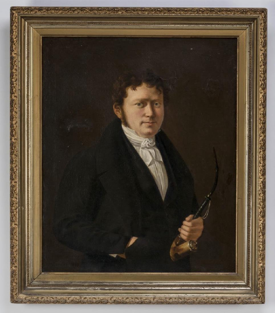 19th c. American portrait of a gentleman with pipe