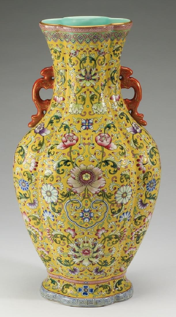 """Chinese yellow ground famille rose vase, 17""""h"""