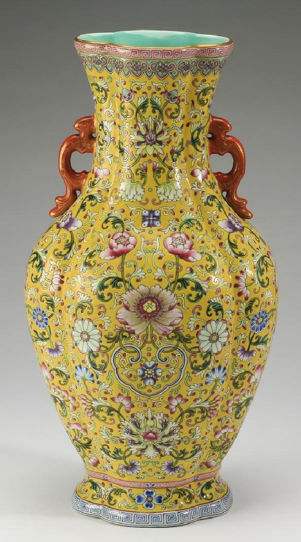 """Chinese yellow ground famille rose vase, 17""""h - 3"""