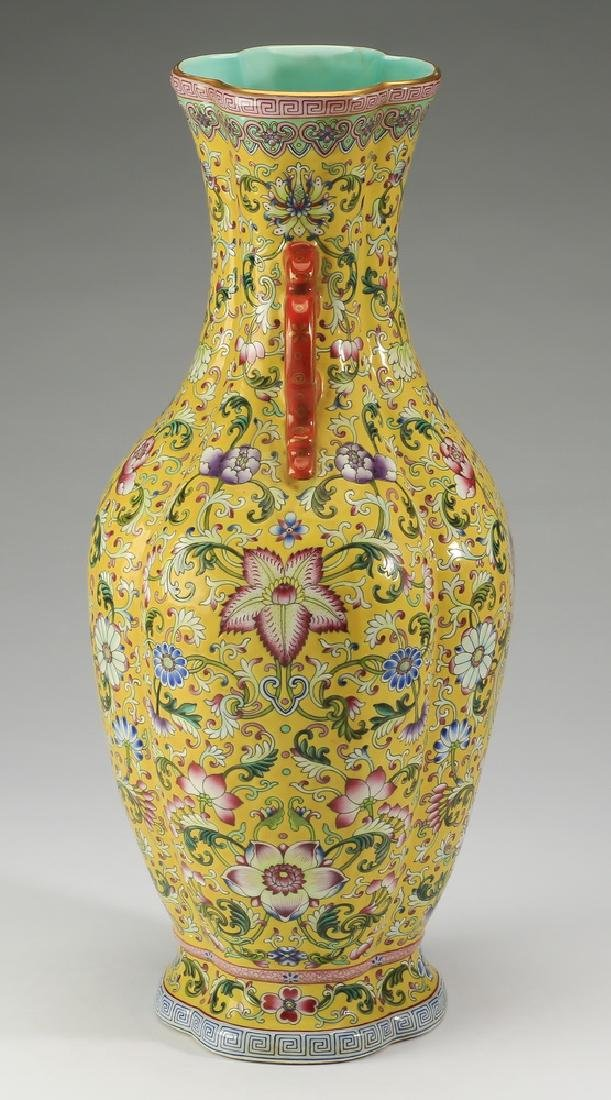 "Chinese yellow ground famille rose vase, 17""h - 4"
