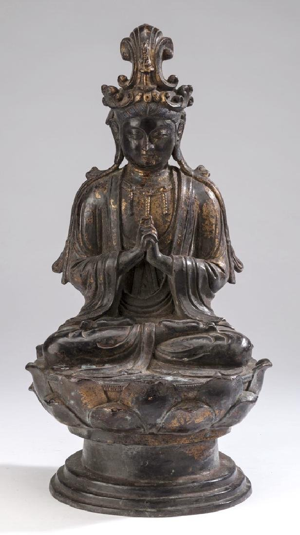 "Chinese parcel gilt bronze Buddha, 18""h"