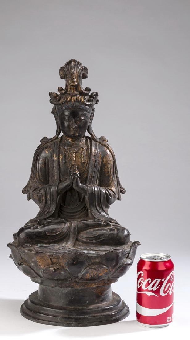 "Chinese parcel gilt bronze Buddha, 18""h - 2"