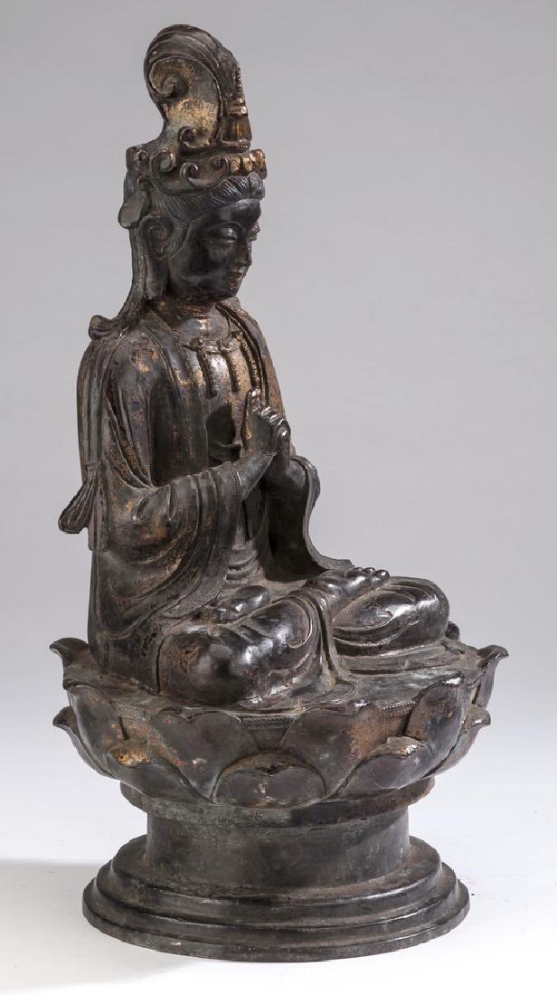 "Chinese parcel gilt bronze Buddha, 18""h - 3"