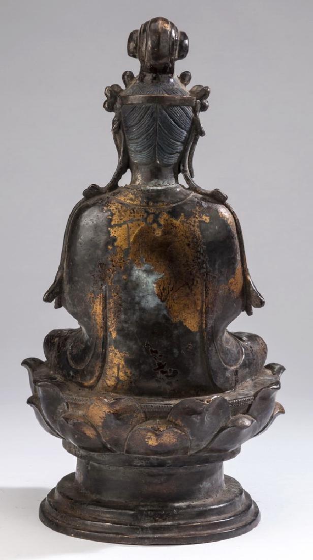 "Chinese parcel gilt bronze Buddha, 18""h - 4"
