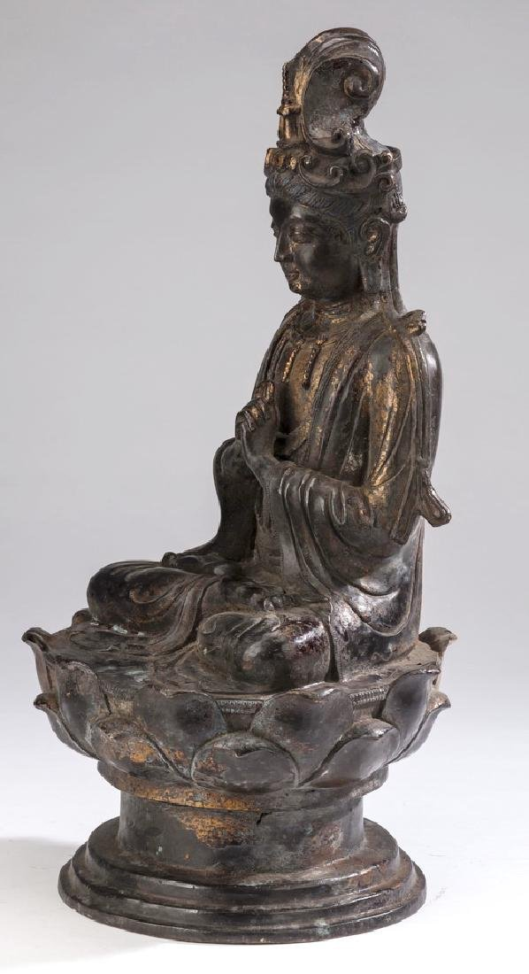 "Chinese parcel gilt bronze Buddha, 18""h - 5"