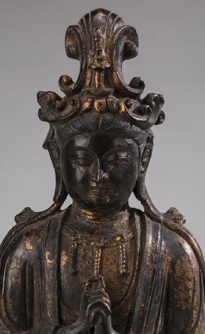 "Chinese parcel gilt bronze Buddha, 18""h - 6"