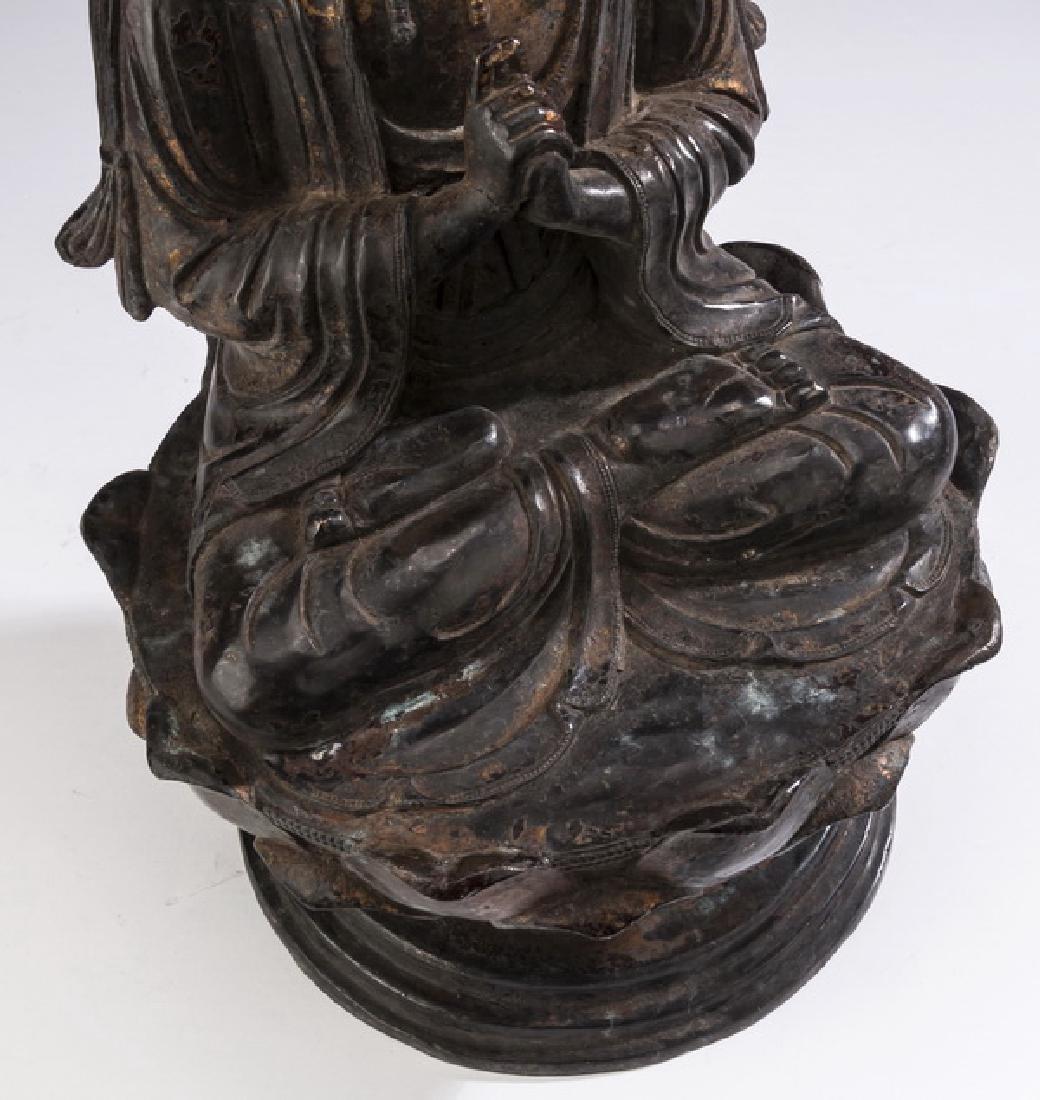 "Chinese parcel gilt bronze Buddha, 18""h - 7"