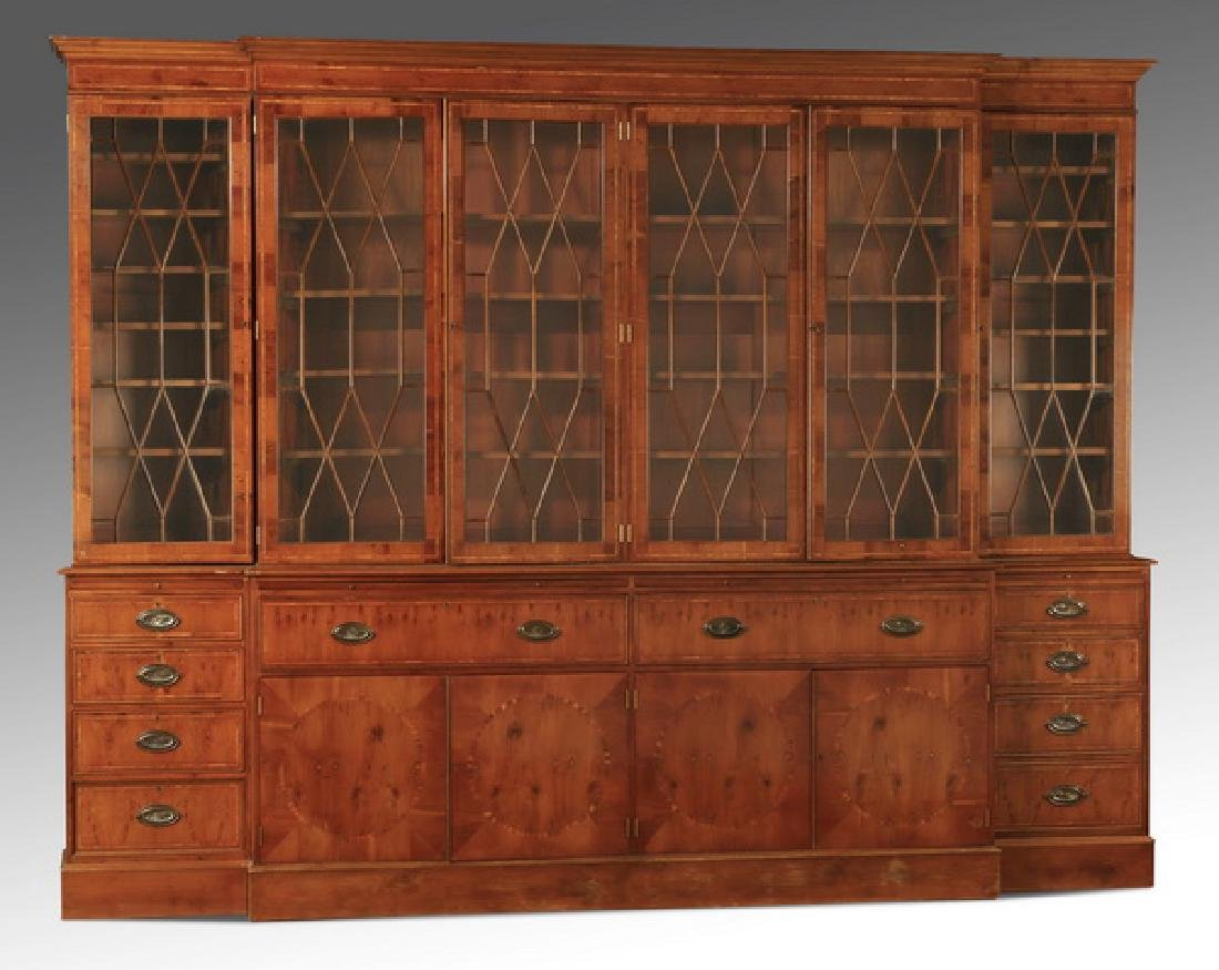 "English Regency style breakfront bookcase, 97""h"