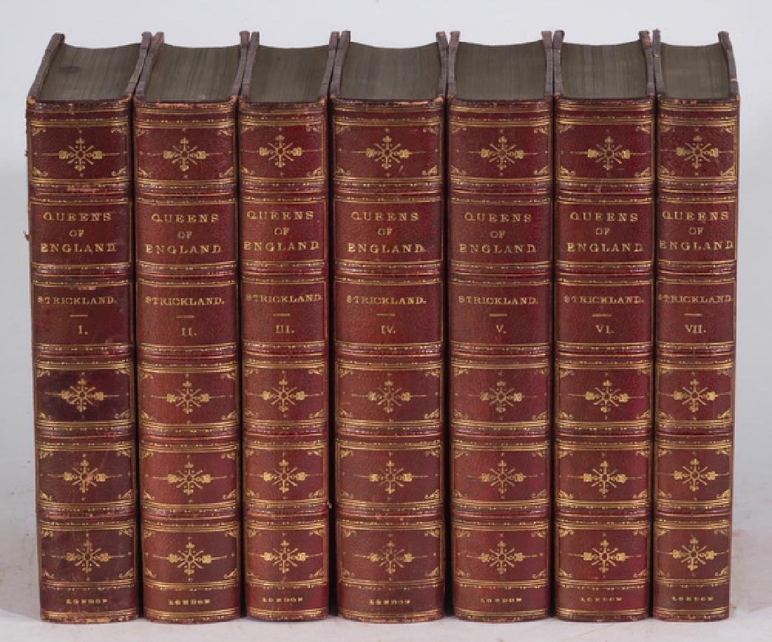 (7) 19th c. leatherbound 'Queens of England'