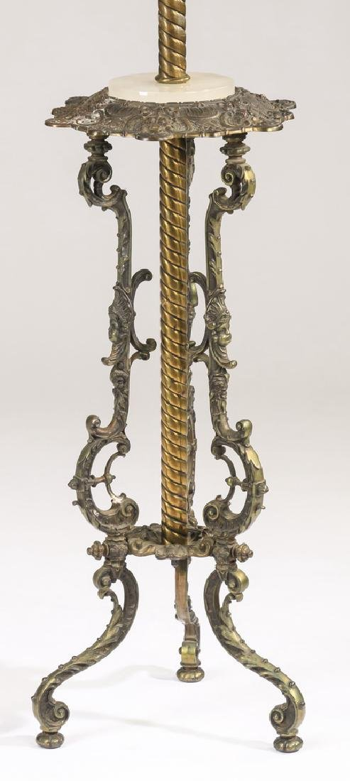 Victorian style floor lamp w/ reverse painted shade - 3