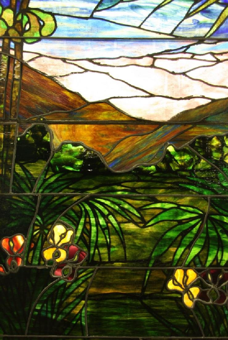 """Stained glass window, attr. to Lamb Studios, 73""""h - 8"""