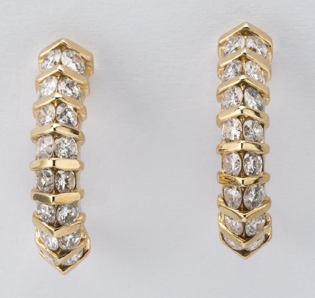 """Pair of diamond & 14k 'J' hoop earrings, .75""""l"""
