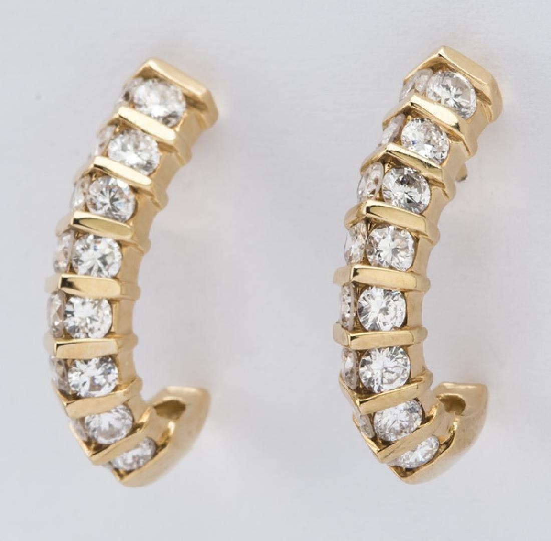 """Pair of diamond & 14k 'J' hoop earrings, .75""""l - 2"""