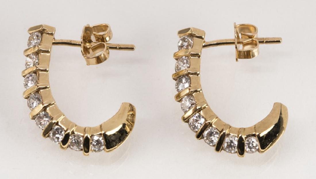 """Pair of diamond & 14k 'J' hoop earrings, .75""""l - 3"""