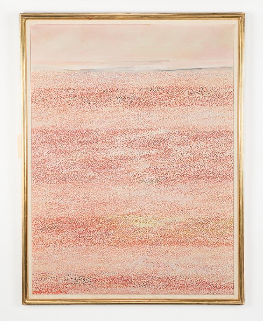 "Pointillist style O/c of a sandy shore, 52""h"