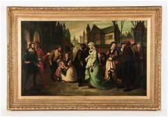 """19th c. O/c of Faust with Mephistopheles, 60""""w"""