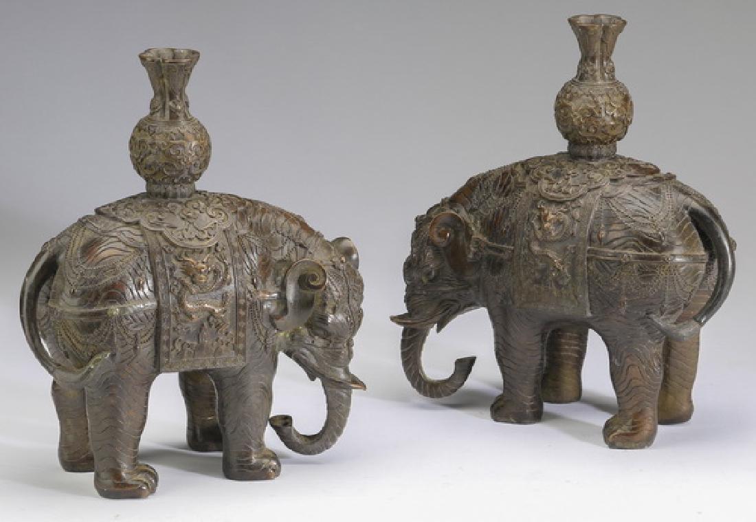 "(2) Chinese bronze elephant candleholders, 10""h"