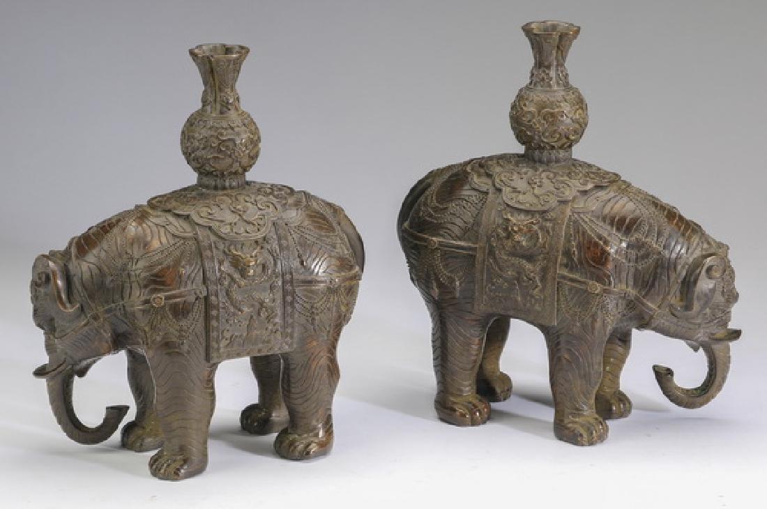 "(2) Chinese bronze elephant candleholders, 10""h - 2"