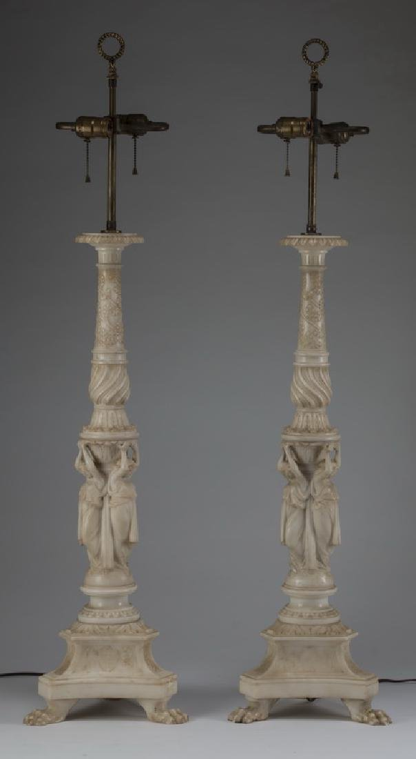"(2) Neoclassical style alabaster table lamps, 43""h"