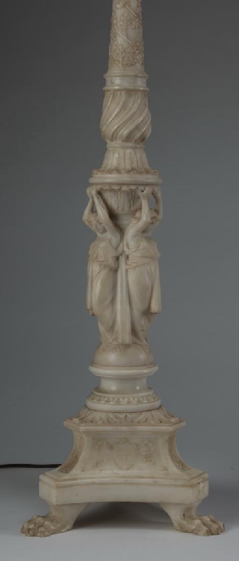 """(2) Neoclassical style alabaster table lamps, 43""""h - 3"""