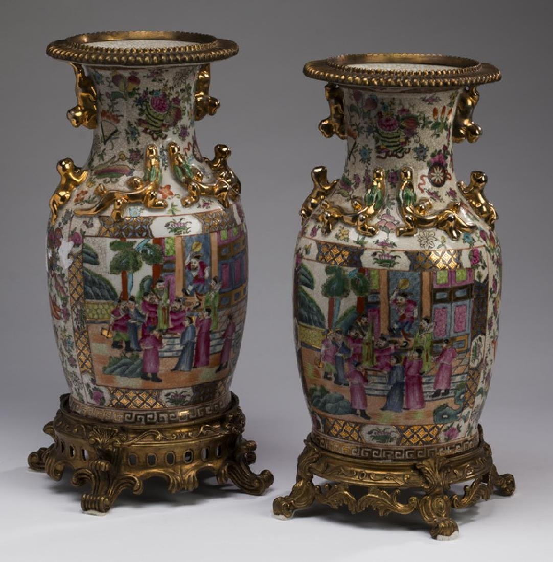 Pair of Chinese  Rose Medallion vases on metal stands - 2