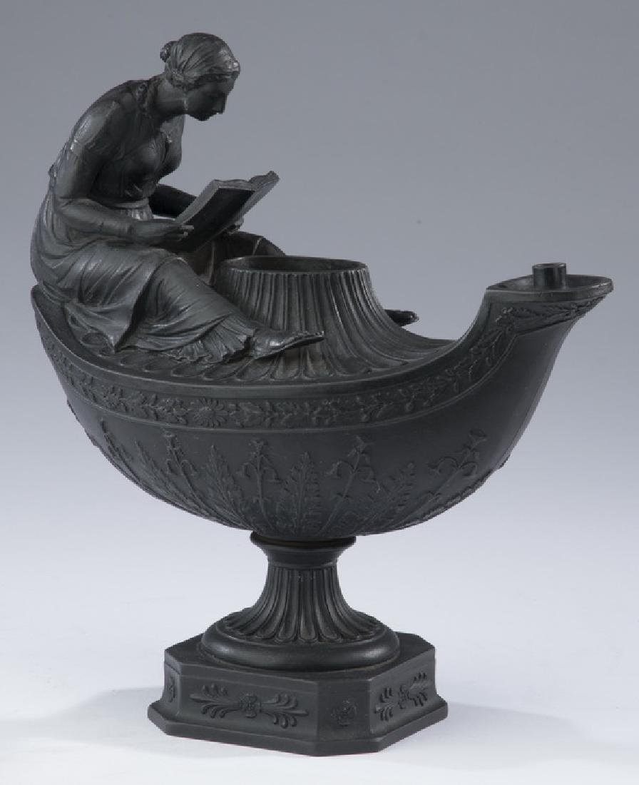 19th c. Wedgwood black basalt vestal lamp, marked