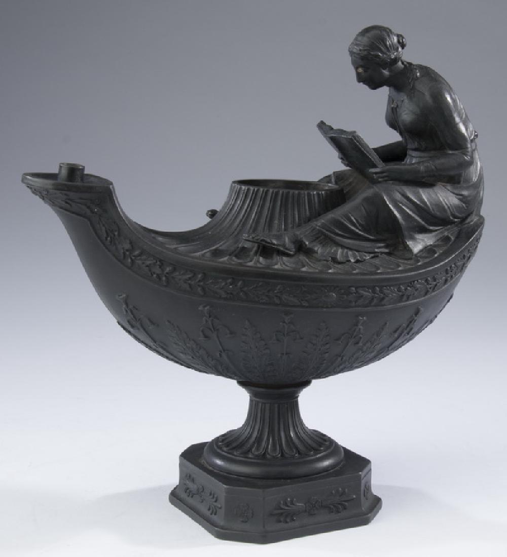 19th c. Wedgwood black basalt vestal lamp, marked - 3